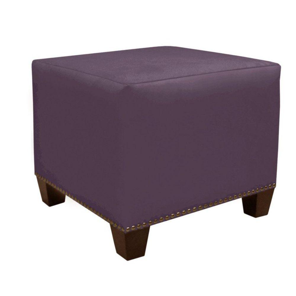 Square Ottoman in Premier Microsuede Purple