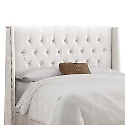 Skyline Furniture Dossier capitonné pour lit très grand en velours de ton blanc