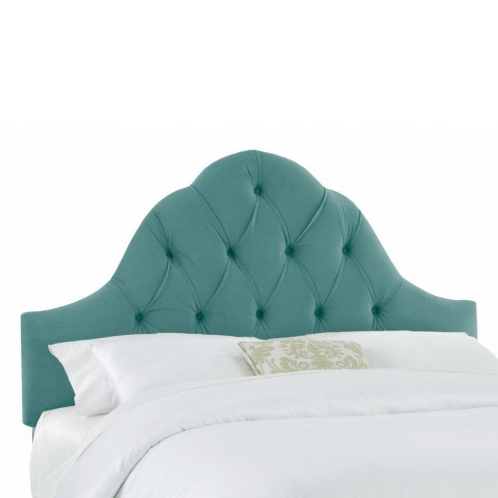 Upholstered Full Headboard in Velvet Caribbean