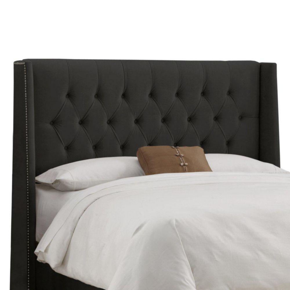 Upholstered Queen Headboard in Velvet Black