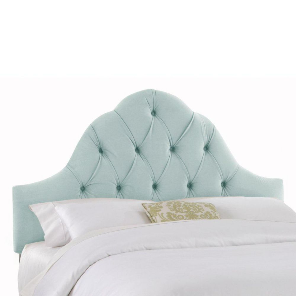 Upholstered King Headboard in Velvet Pool