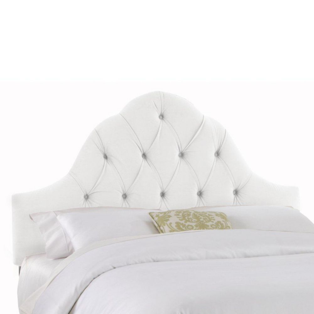 Upholstered Queen Headboard in Velvet White
