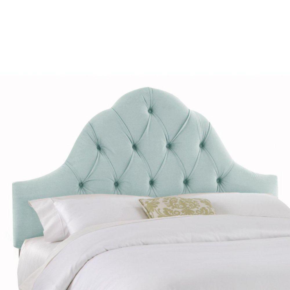 Upholstered Queen Headboard in Velvet Pool