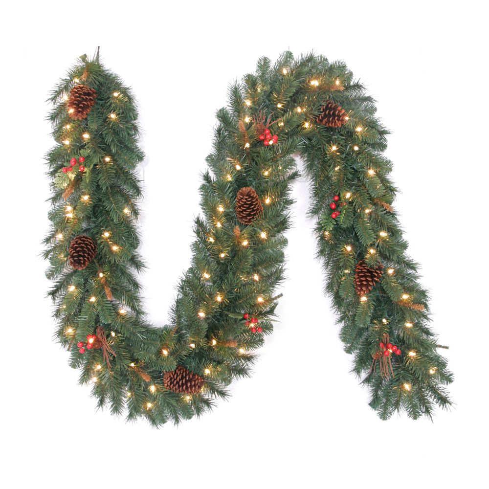 9 Feet Pre-Lit Hawkins Garland with Clear Lights and Berries and Pine Cones