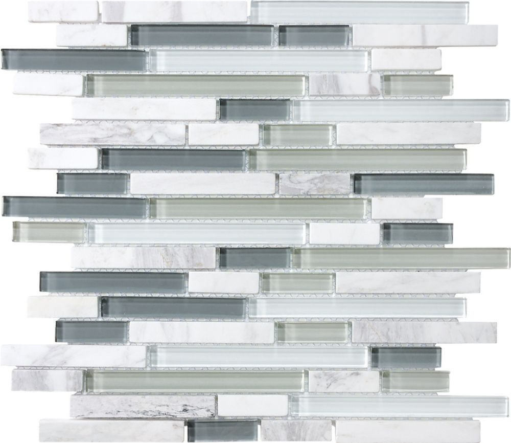 Glass/Stone Strip Mosaic Tile in Venatino