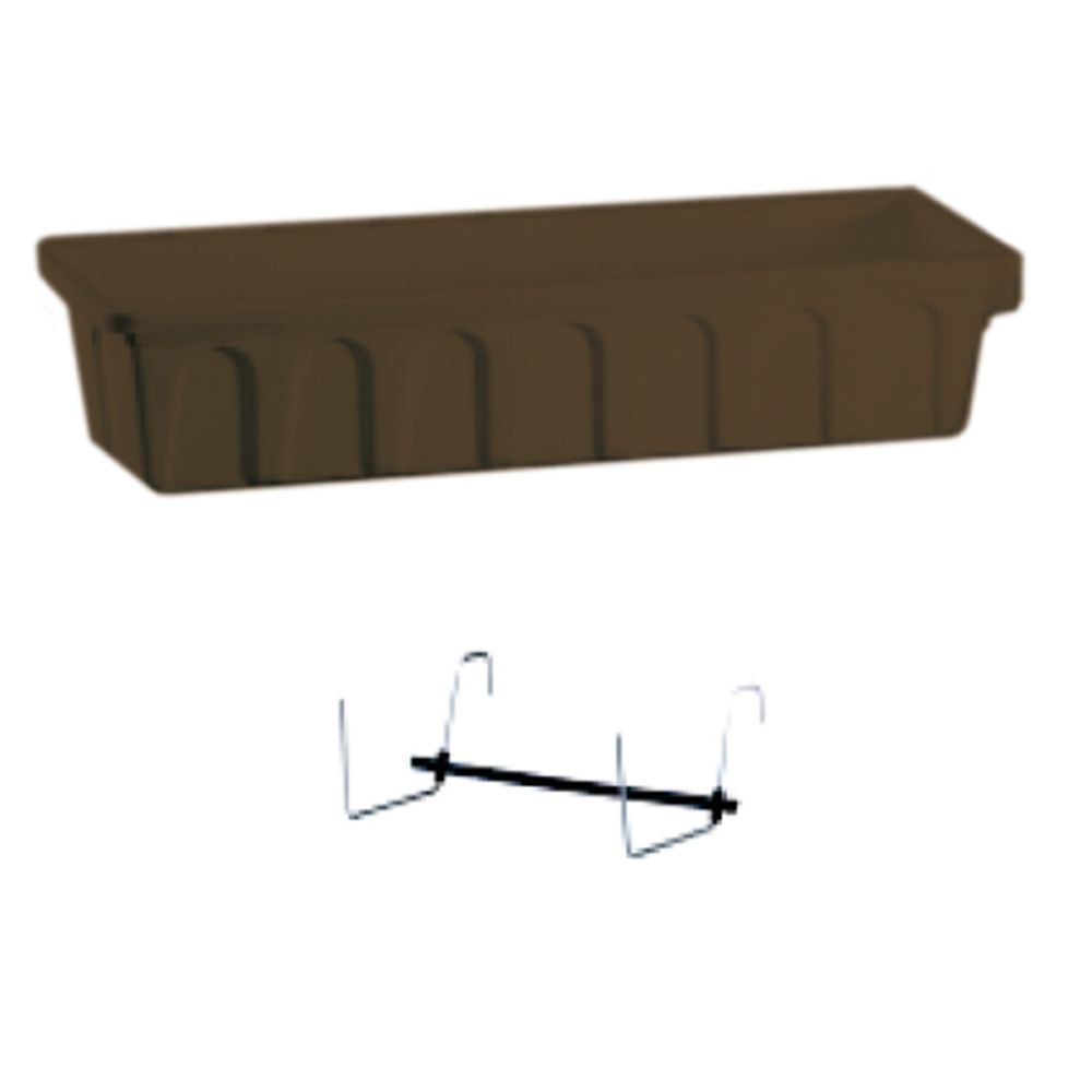 30 In. Balcony Planter With Bracket - Chocolate