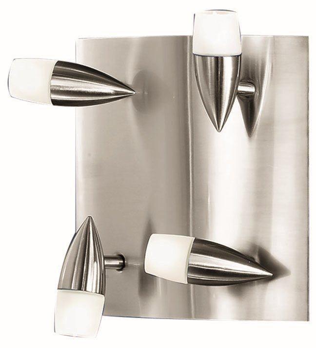 NANDO Ceiling Light 4L, Matte Nickel Finish, Satin Glass