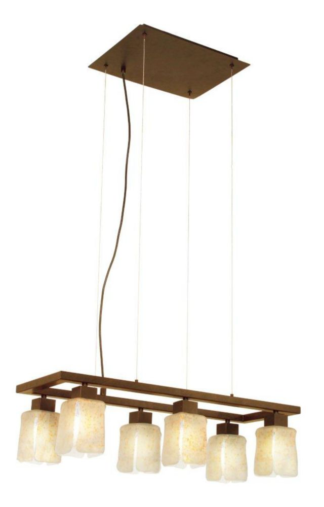 NORWICH Suspension 6L, Fini Brun Antique avec Verre Sablé