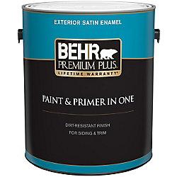 Behr Premium Plus Peinture & apprêt en un - Extérieur émail satiné - Base moyenne, 3,7 L