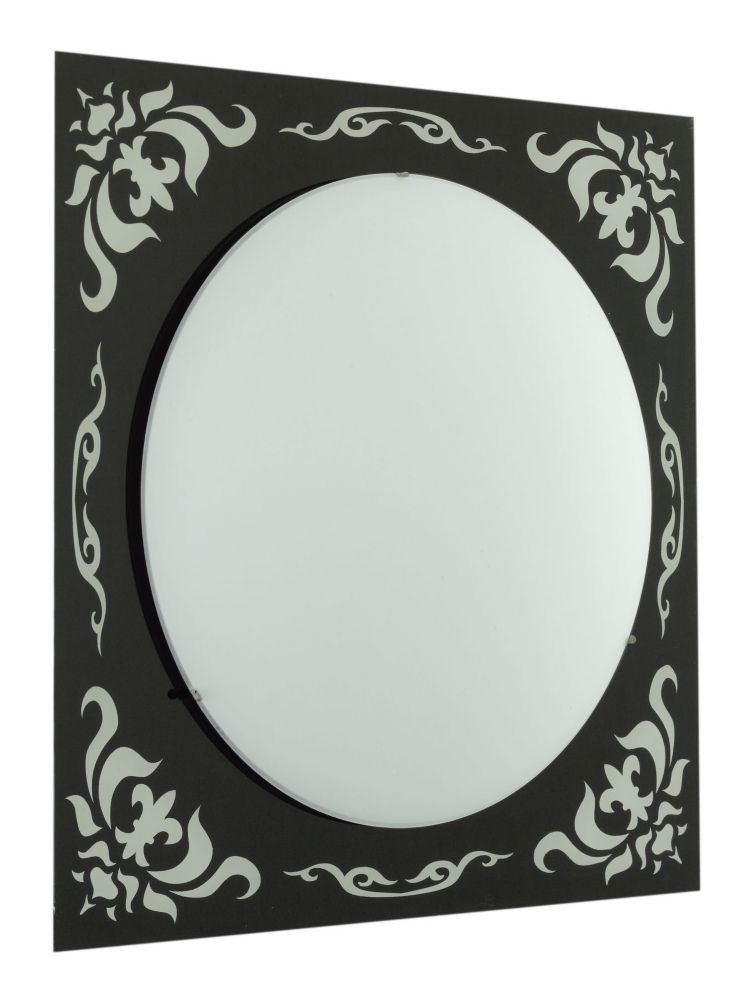SCALEA Wall Light 2L, Black/Mirror Pattern, Frosted Glass