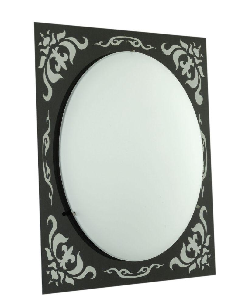 SCALEA Wall Light 1L, Black/Mirror Pattern, Frosted Glass