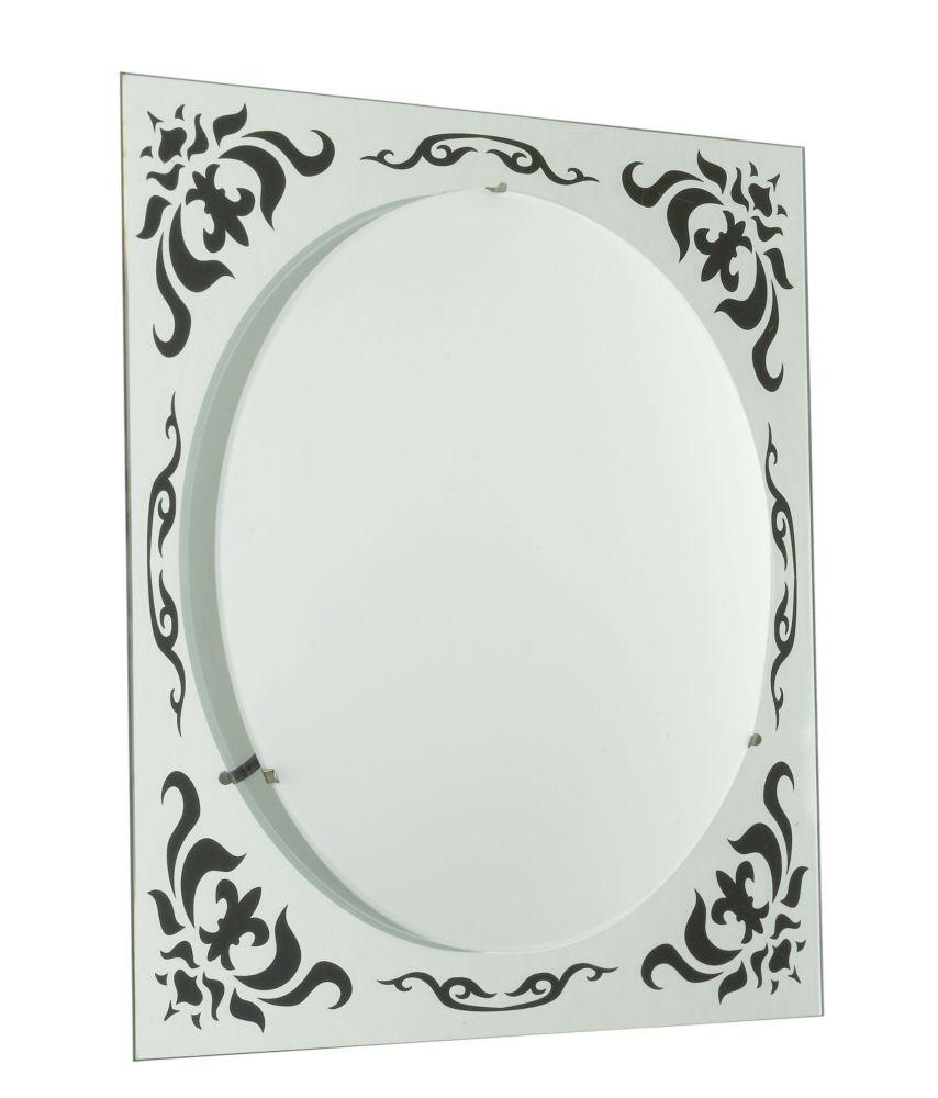 SCALEA Wall Light 1L, Mirror/Black Pattern, Frosted Glass