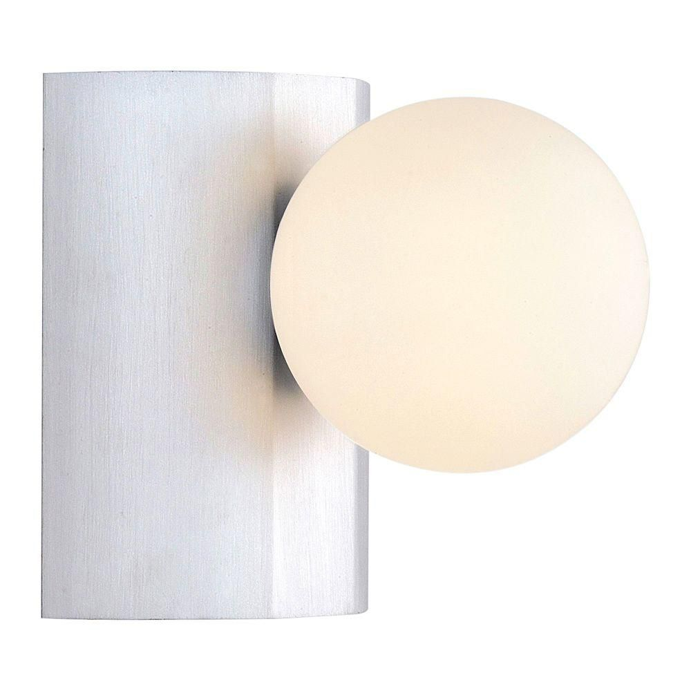 NESO Wall Light 1L, Aluminum Finish, White Opal Glass