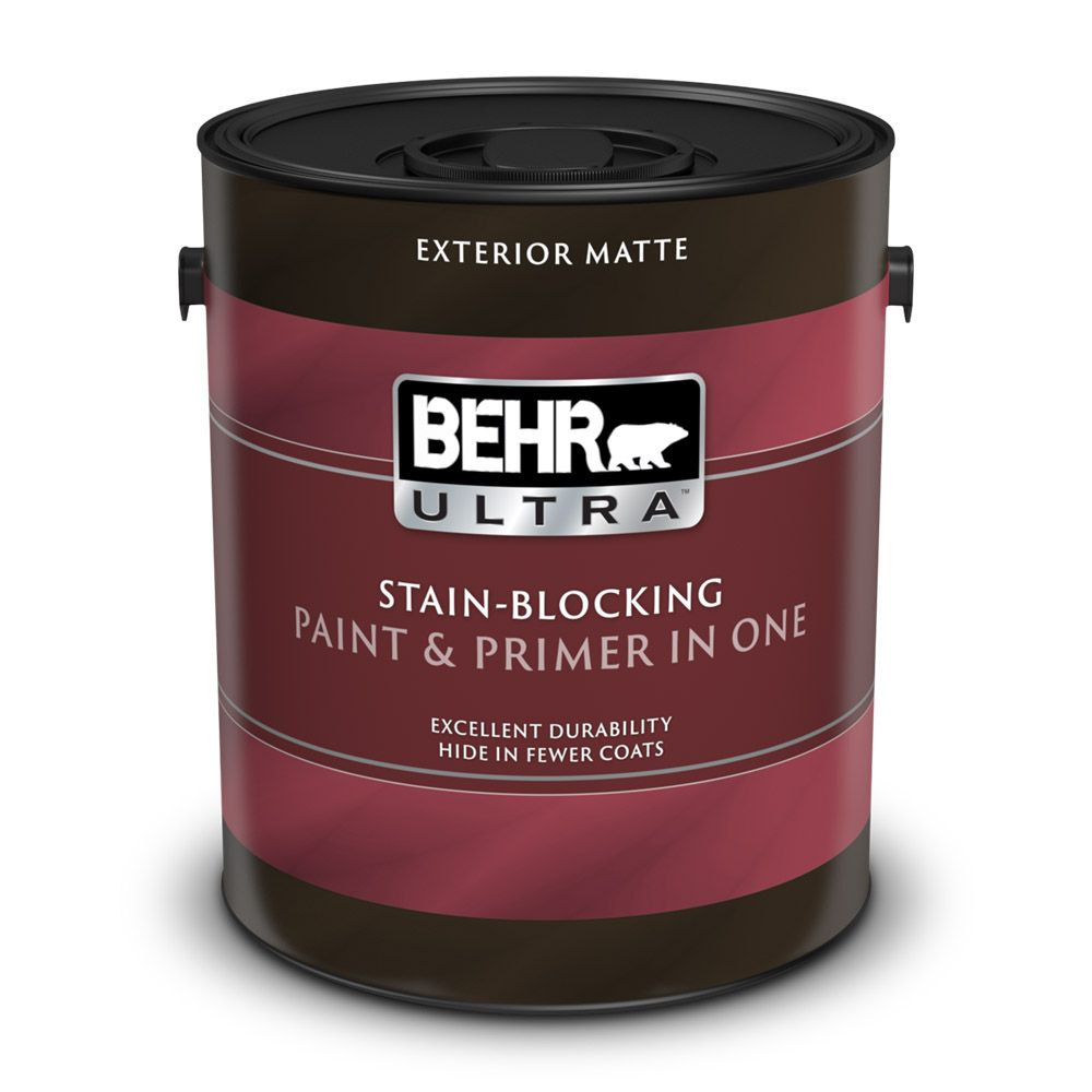Behr premium plus ultra exterior paint primer in one flat medium base 3 7 l the home for Behr exterior paint with primer reviews