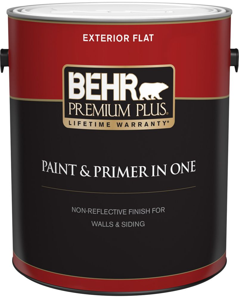 Exterior Paint & Primer in One, Flat - Medium Base, 3.7 L
