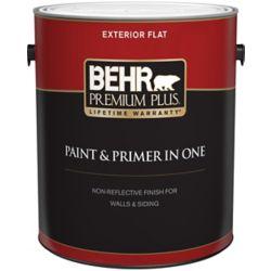 Behr Premium Plus Peinture & apprêt en un - Extérieur mat - Base moyenne, 3,7 L