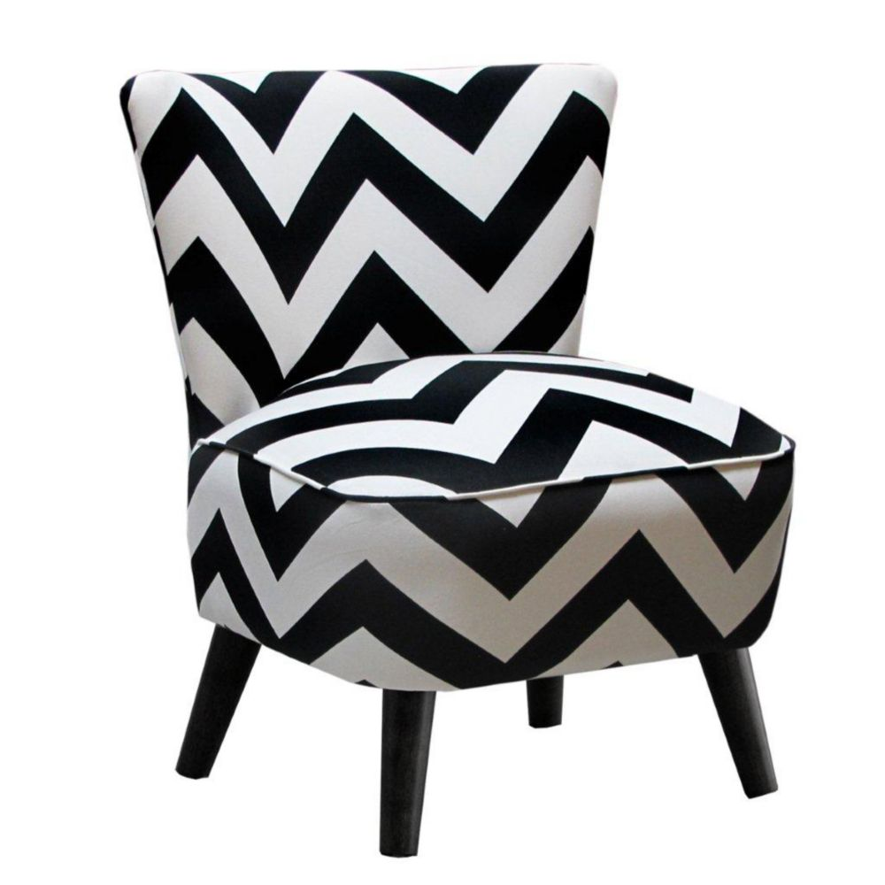 Mid Century Modern Chair in Zig Zag Black and White