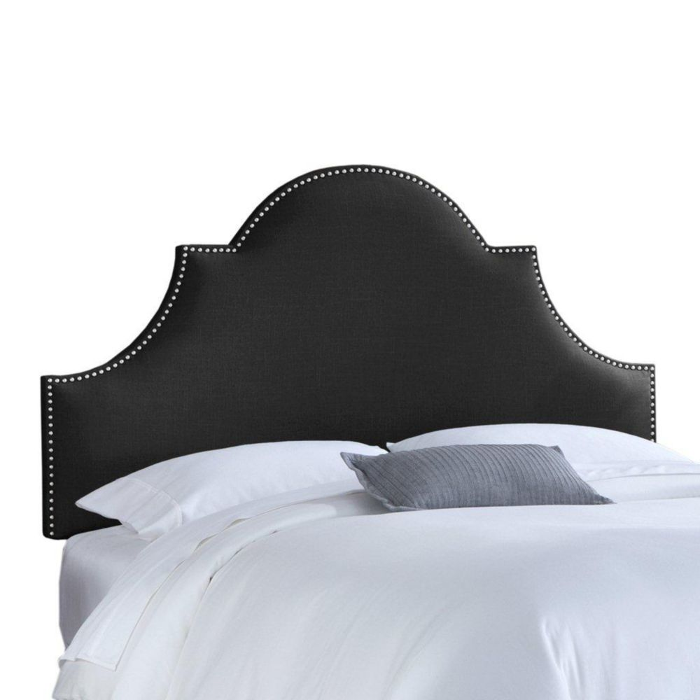 Upholstered Queen Headboard in Linen Black
