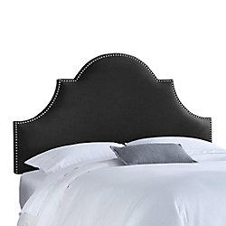 Skyline Furniture Dossier rembourré pour lit double en lin de ton noire