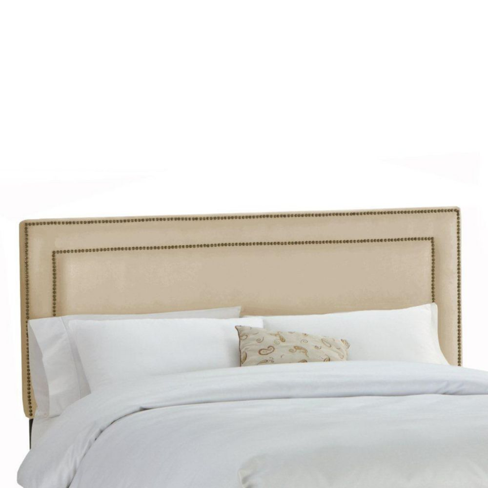Upholstered Queen Headboard in Premier Microsuede Oatmeal