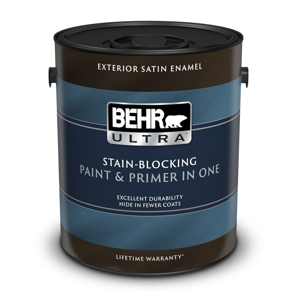 Behr Premium Plus Ultra Exterior Paint Primer In One Satin Enamel Medium Base 3 7 L The