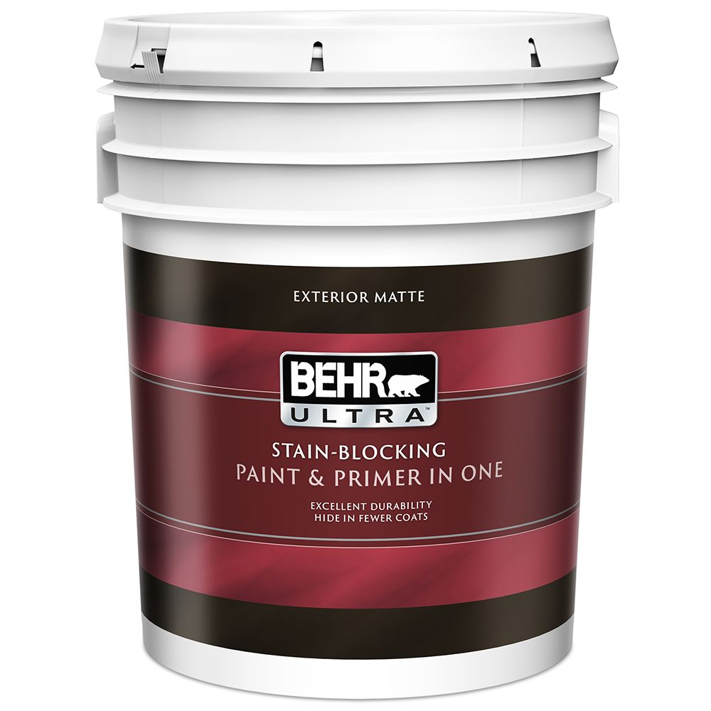 Behr Premium Plus Ultra Exterior Paint Primer In One Flat Medium Base 18 9 L The Home