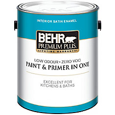 BEHR PREMIUM PLUS   Interior Satin Enamel Paint - Medium Base, 3.54 L