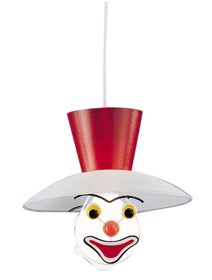 CLOWN Suspension 1L, Blue, Red Acrylic, Frosted White Glass Shade