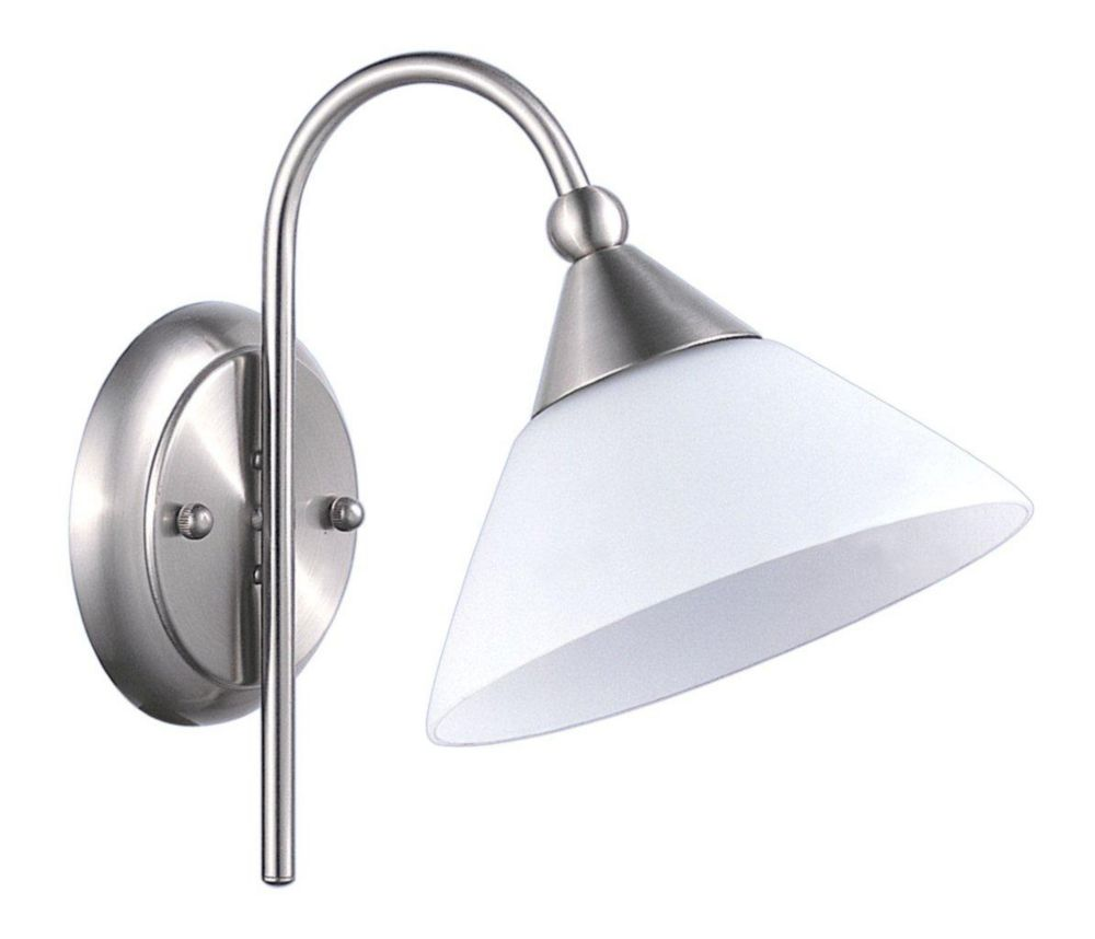 FERNANDO Wall Light 1L, Matte Nickel Finish, Opal Frosted Glass 86036A in Canada