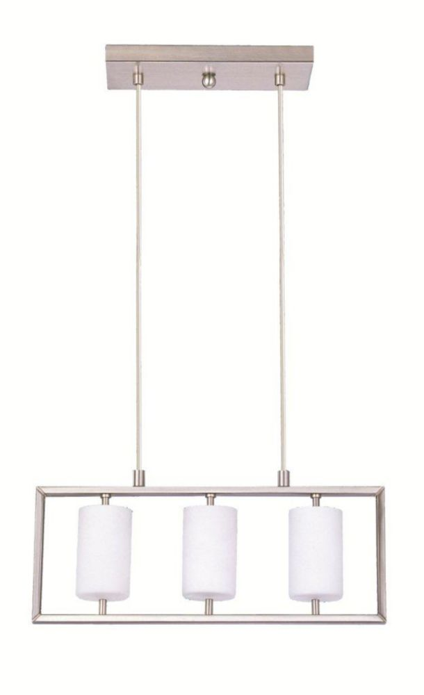 JUBA Suspension 3L, Matte Nickel Finish, Opal Frosted Glass