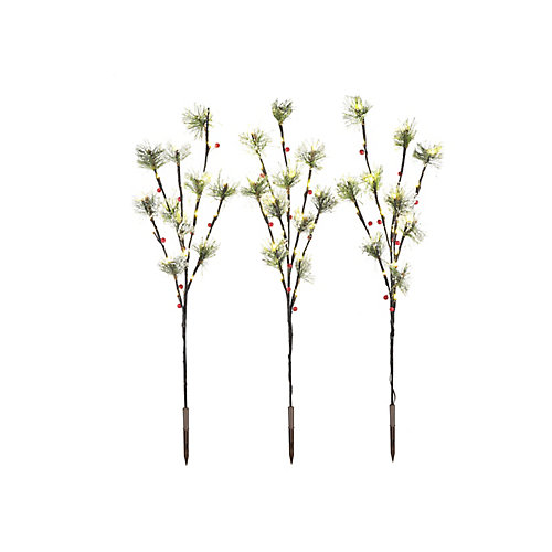 30-inch LED-Lit Berry Beaded Twigs Christmas Decoration