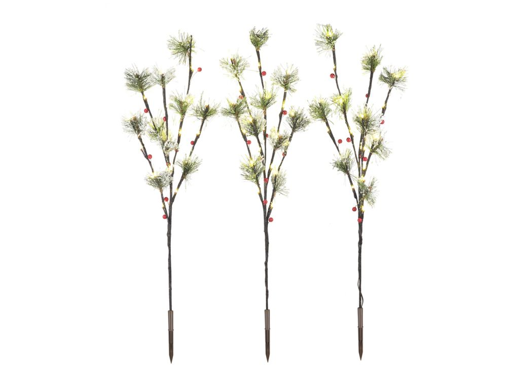 3Pk 30 Inch Berry Twigs with 60 LED White Lights