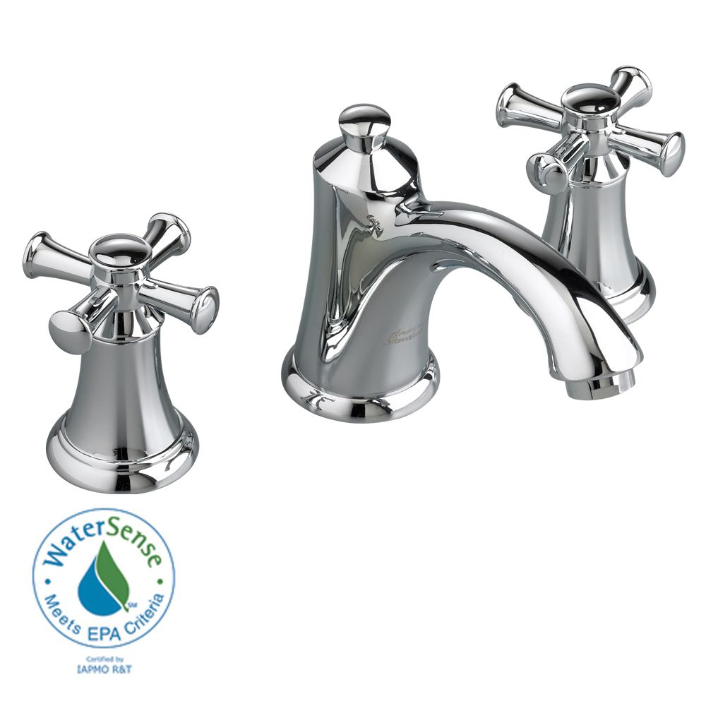 Portsmouth 8-inch 2-Handle Faucet with Speed Connect Drain and Cross Handles in Polished Chrome