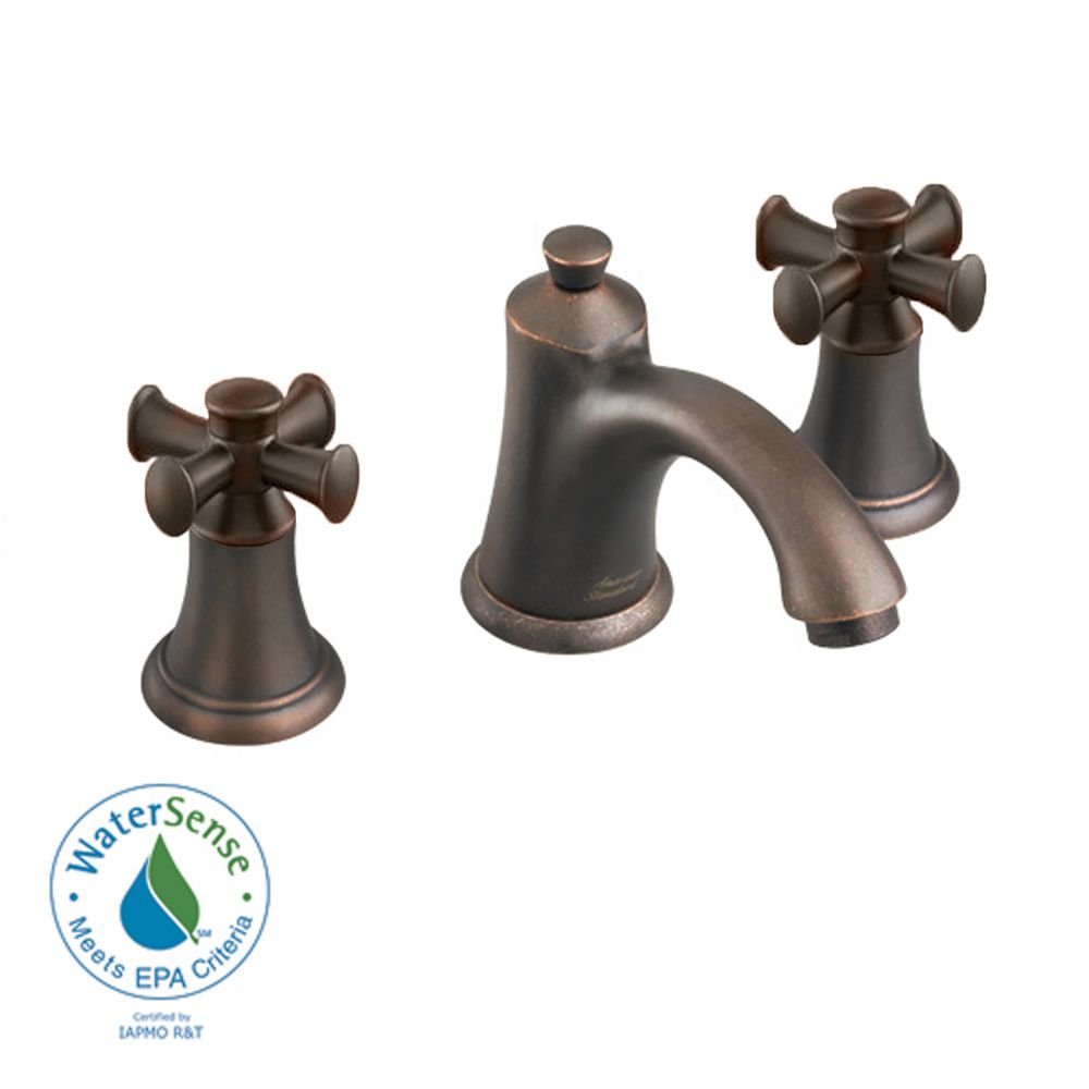 Portsmouth 8-inch 2-Handle Faucet with Speed Connect Drain and Cross Handles in Oil Rubbed Bronze