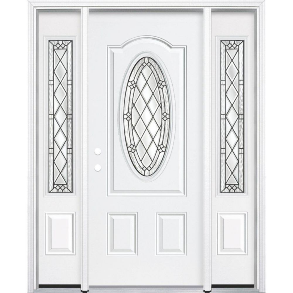 "67""x80""x6 9/16"" Halifax Antique Black 3/4 Oval Lite Right Hand Entry Door with Brickmould"