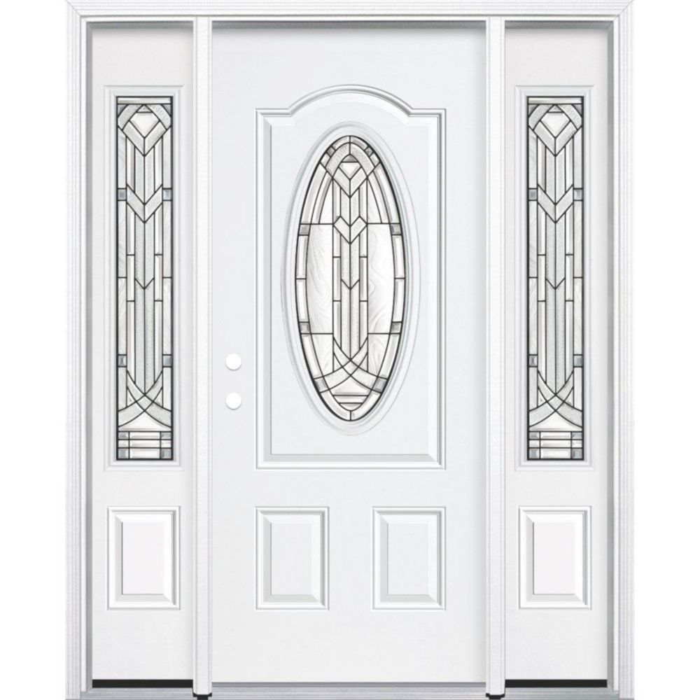 "69""x80""x6 9/16"" Chatham Antique Black 3/4 Oval Lite Right Hand Entry Door with Brickmould"