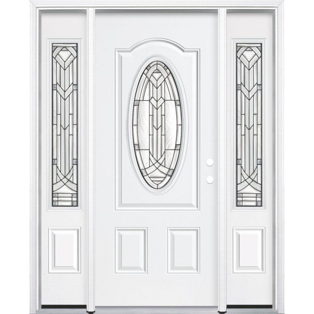 65-inch x 80-inch x 6 9/16-inch Antique Black 3/4 Oval Lite Left Hand Entry Door with Brickmould