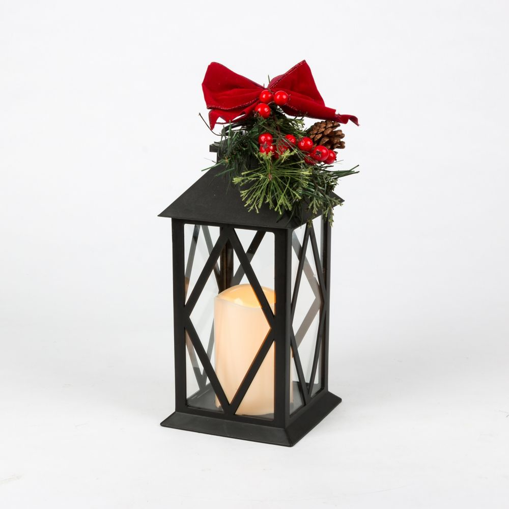 11 inch  H Black Plastic Lantern With Red Bow Pic