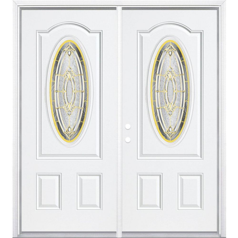 64-inch x 80-inch x 4 9/16-inch Brass 3/4 Oval Lite Right Hand Entry Door with Brickmould