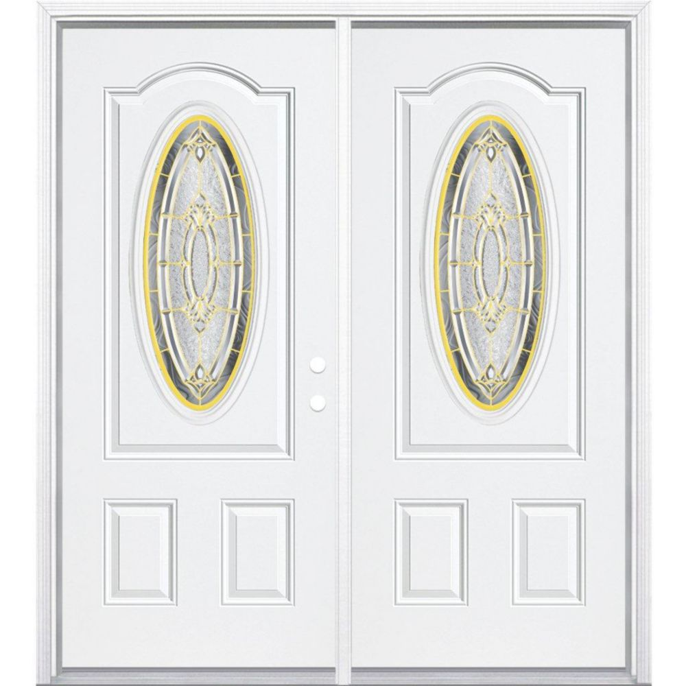 64-inch x 80-inch x 4 9/16-inch Brass 3/4 Oval Lite Left Hand Entry Door with Brickmould