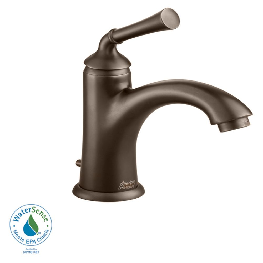 Portsmouth Single-Handle Mid-Arc Bathroom Faucet with Speed Connect Drain in Oil Rubbed Bronze