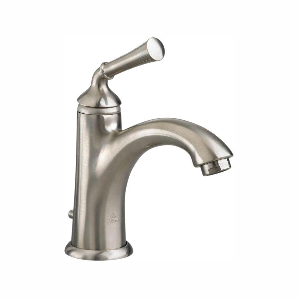 Portsmouth Monoblock Single Hole 1-Handle Mid-Arc Bathroom Faucet in Satin Nickel with Speed Conn...