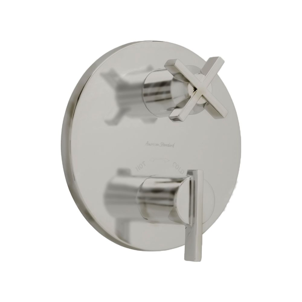 Berwick 2-Handle Thermostat Trim Kit with Separate Volume Control in Satin Nickel (Valve Not Incl...