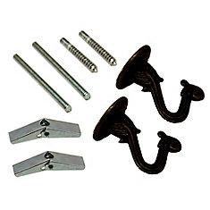 Crochets de suspension de lampe noirs - 2 PC / Paquet