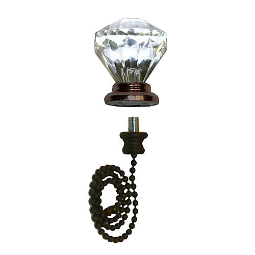 Crystal w/ Oil Rubbed Bronze Finial with 12 Inch (30.5) Oil Rubbed Beaded Chain