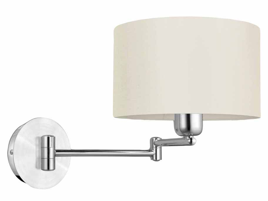 Halva Swing Arm Wall Light, Brushed Aluminum and Chrome with Cream Shade