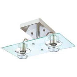 Eglo Focus Ceiling Light-2 Light, Matte Nickel with Chrome Accents, Clear Glass