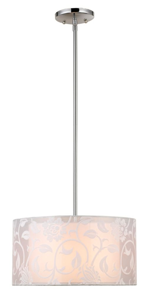 Hampton bay luminaire suspendu baril 1 ampoule fini chrome for Home depot luminaire suspendu interieur