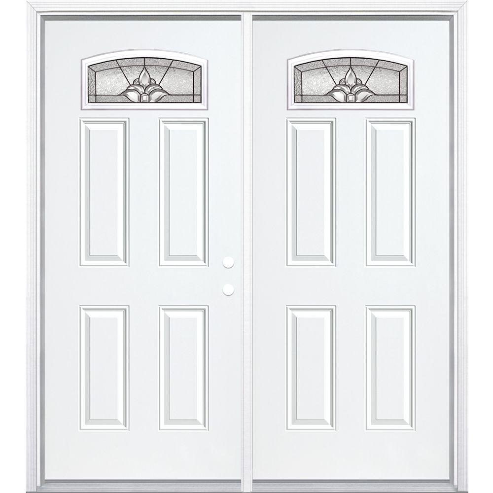 """72""""x80""""x6 9/16"""" Providence noir antique d. lune cambré porte d'entrée moul. à brique m. droite"""