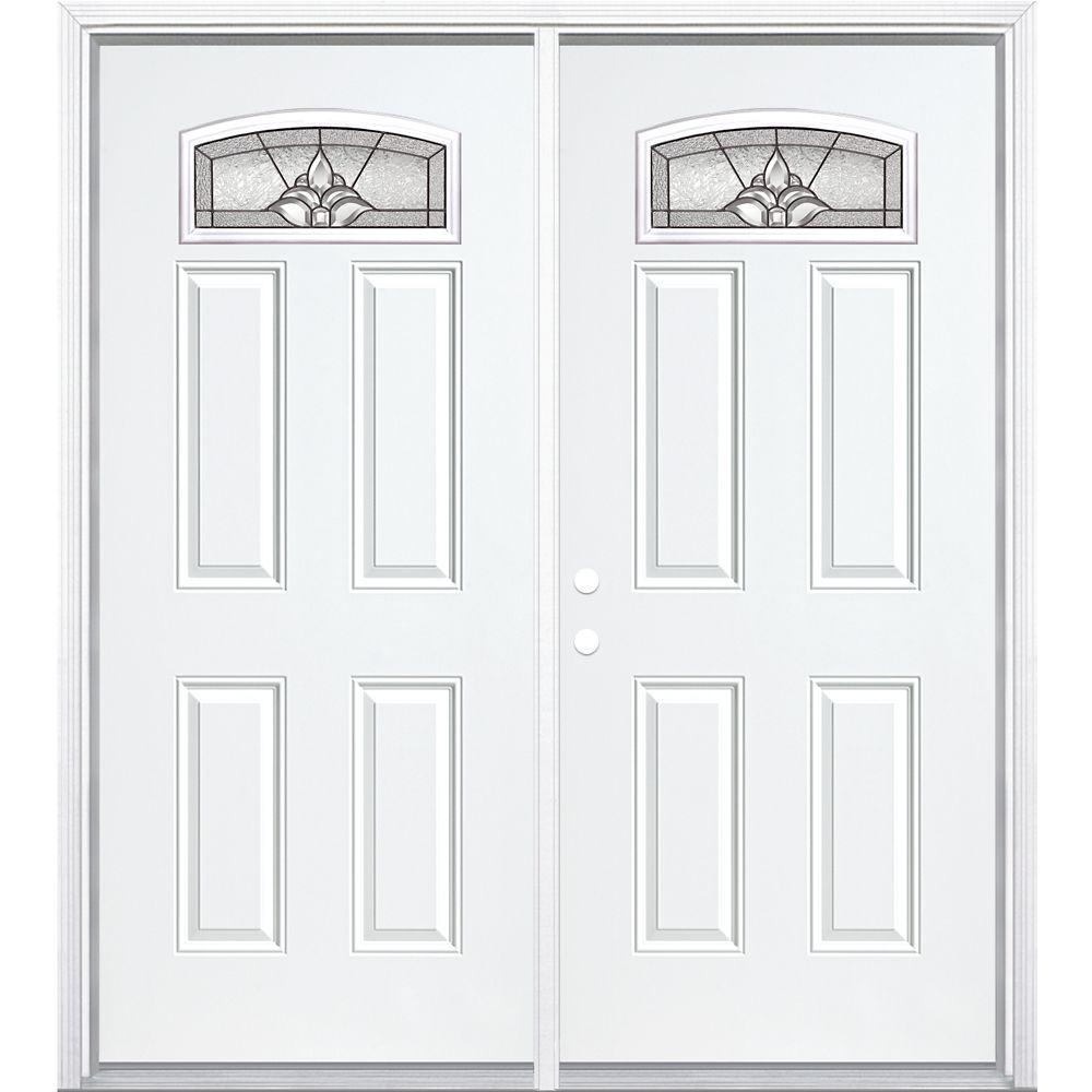 """68""""x80""""x6 9/16"""" Providence noir antique d. lune cambré porte d'entrée moul. à brique m. gauche"""